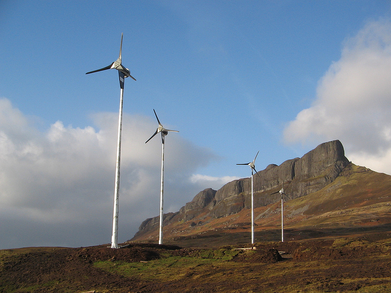 Wind turbines on the Isle of Eigg, which generates 85% of its energy from renewable sources. Photo: Isle of Eigg community