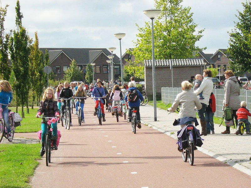 School children on safe cycle path in the Netherlands
